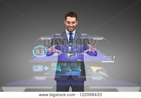 business, technology and people concept - smiling businessman working with virtual gps navigator map