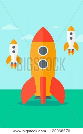 Background of business start-up rockets.