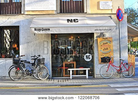 BARCELONA SPAIN - DECEMBER 21: Street cafe in Barceloneta district old town of Barcelona on December 21 2014. Barcelona is the secord largest city of Spain.