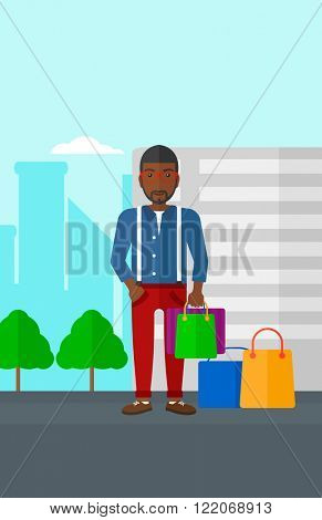 Buyer with shopping bags.