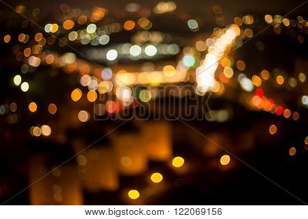 Blurred view of night town. Time won't stand still. Beauty of constant motion.