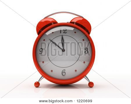 Red Alarm Clock Isolated On White Background 3D