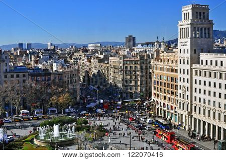 BARCELONA SPAIN - DECEMBER 30: View of Square of Catalonia in centre of Barcelona on December 30 2014. Barcelona is the secord largest city of Spain.