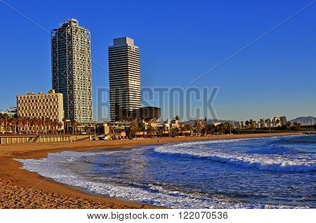 The Barceloneta district in Barcelona city, Spain