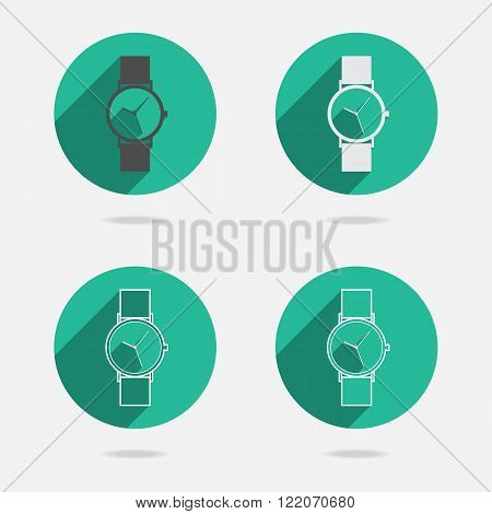Flat long shadow green icon white wristwatch for web. Vector EPS10