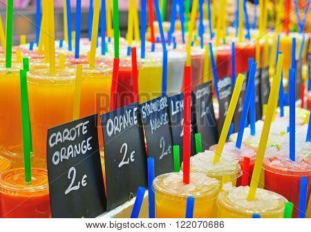 The Fresh juices assortie. Boqueria market Barcelona