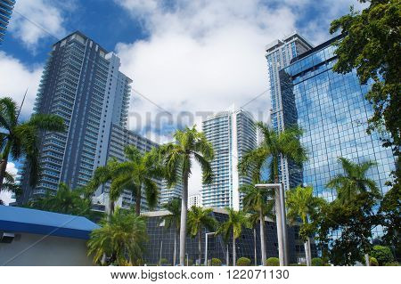 Skyscrapers at the Brickell ave of Miami Downtown, United States.