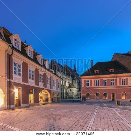 Brasov, Romania - March 3rd. Night image of the Black Church built in medieval times next to the Council Square in old city center of Brasov, Transylvania on March 3rd, 2016