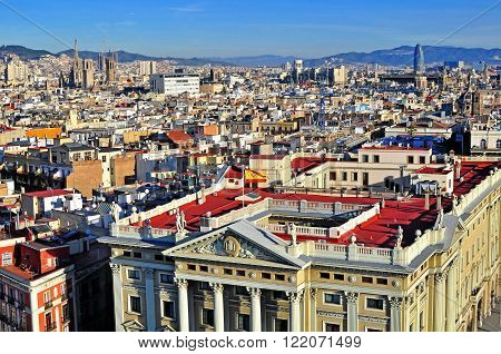 BARCELONA SPAIN - JANUARY 3 2015: Top view of Barcelona city centre on January 3 2015. Barcelona is the second largest city of Spain.