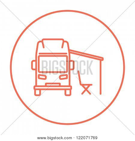 Motorhome with tent line icon.