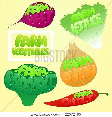 Farm Vegetables set. Vegetables labels. Chili, Beet, Lettuce, Broccoli, Onion. Cute  Vegetable.