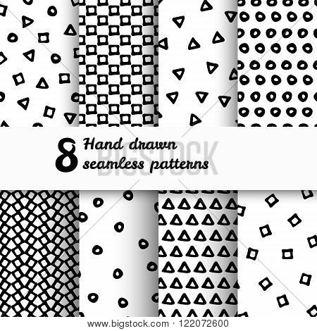Seamless pattern set. Geometric Seamless patterns. Abstract seamless patterns. Monochrome seamless patterns. Patterns with triangle, dots, squares