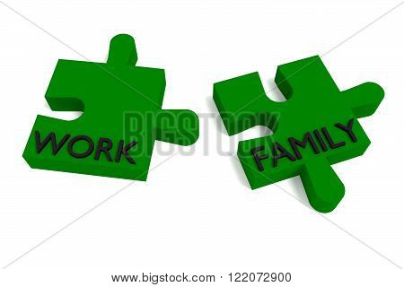 Green Puzzle work and family, jigsaw on a white background