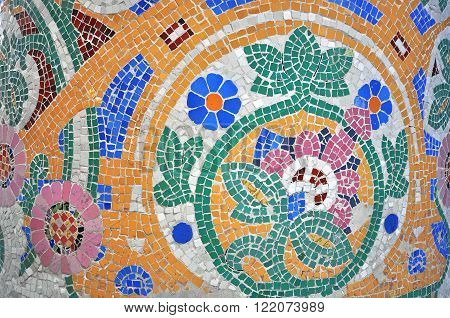 BARCELONA SPAIN - JANUARY 25: Mosaic details of Palace of Catalan music by Gaudi in Barcelona on January 25 2015. Barcelona is the capital city of Catalonia Spain.
