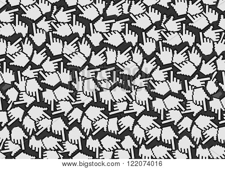Background design with repetition of pixelated digital hand with index finger illustration or web icon for click as pattern.