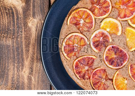 Upside down spelt cake with blood oranges