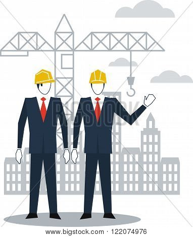 Civil engineering, construction site, flat design illustration