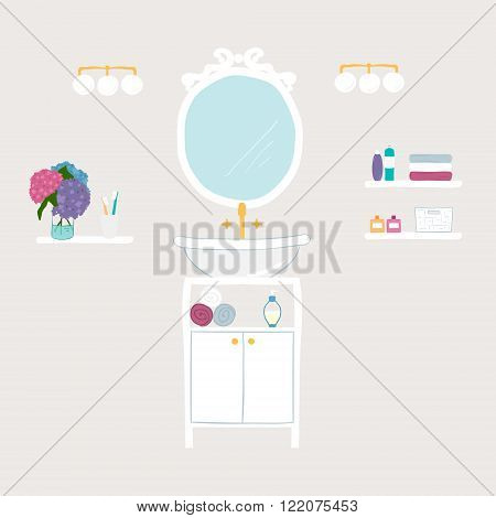 Set of vector bathroom and personal hygiene icons with bathtubs towel hand basin toilet mirror toiletries toothbrush toilet paper hand-drawn illustrations flowers