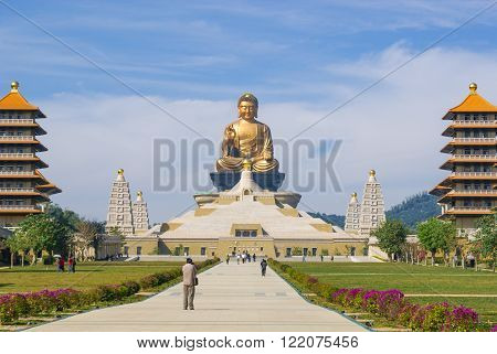 Kaohsiung, Taiwan - January 09, 2012 - The giant Buddha statue at Fo Guang Shan temple