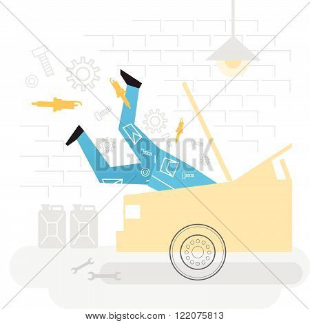 Vector auto service mechanic, flat design illustration