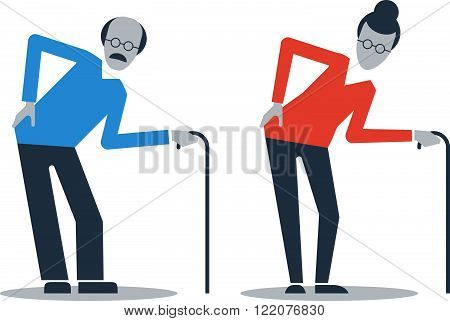Old man and woman, flat design illustration