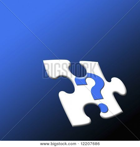 Question mark symbol on jigsaw piece: concept 'Missing piece'