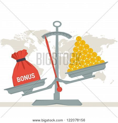 Vector infographic value of bonus. Scales with bonus bag and pile of money coins. Flat style concept illustration. Web infographics
