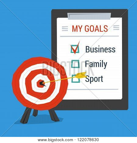 Business concept personal goals. Target with arrow in center and list of goals. Flat style