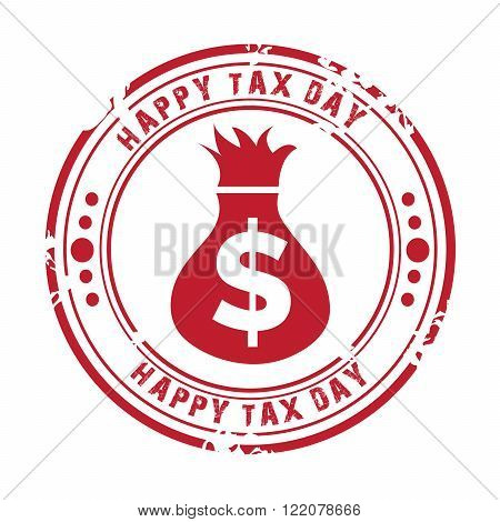 illustration of a stamp for Happy Tax Day.