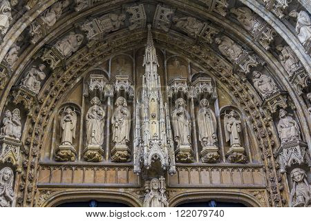 Brussels, Belgium - May 10: The figures above the entrance to the Cathedral of Notre Dame du Sablon May 10, 2013 in Brussels, Belgium.