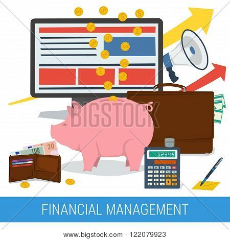 Vector concept of financial management accounting services money saving. Money pig with coins and banknotes calculator purse portfolio computer. Flat style. Isolated web infographic