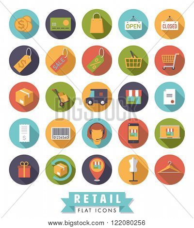 Flat design shopping and retail vector icons in circles set