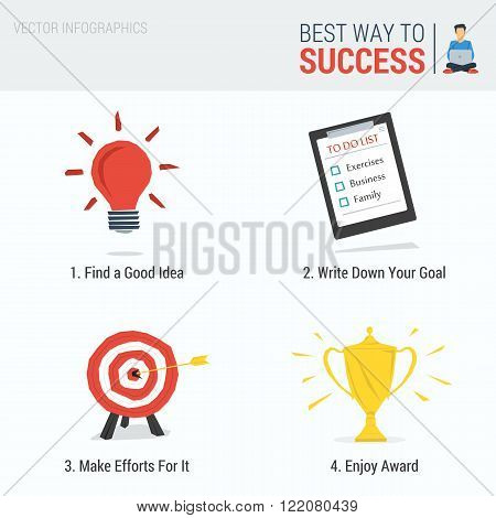 Vector concept four steps to success. Concept time management. Business planning. Start up. Flat style. Web infographics