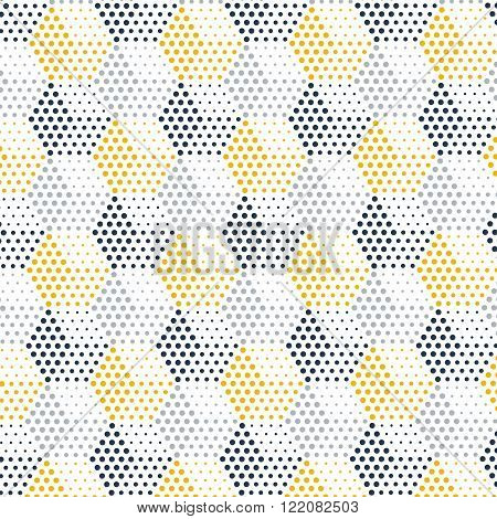 Gray-yellow dotted cubical pattern, horizontal hexagons, flat design illustration