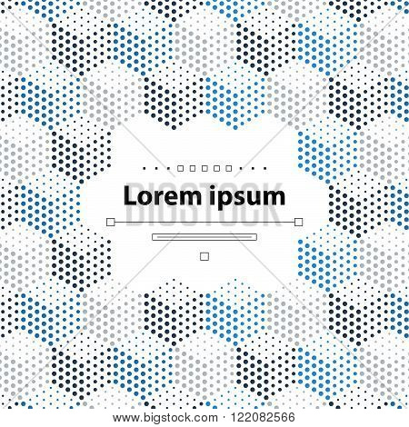 Gray-blue dotted cubical pattern, horizontal hexagons, flat design illustration