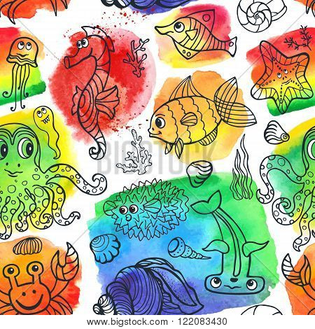 Vector summer seamless pattern.Sea life animals set with watercolor stein, splash background.Funny Fish, octopus, crab, seahorse .Doodle underwater world.Baby hand drawing travel, tropical composition.