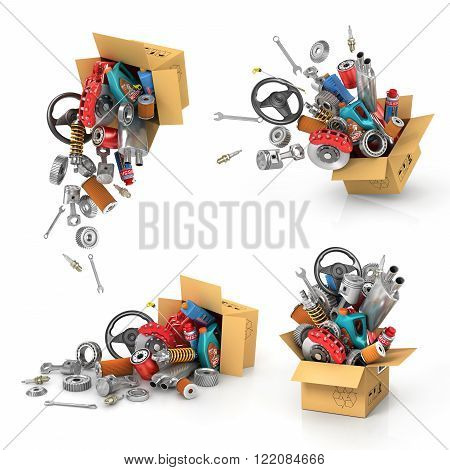 Set it auto parts in the cardboard boxes. Automotive basket shop. Auto parts store. Flying autoparts.