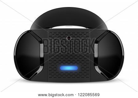 Front view of VR virtual reality headset isolated on white background. VR is an immersive experience in which your head movements are tracked in 3d world making it ideally suited to games and movies.