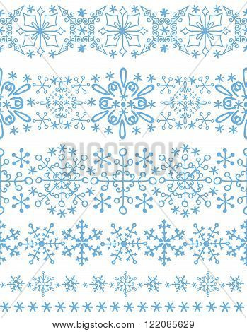 Christmas Snowflake seamless  border pattern, ornament background, Winter lace.New year holiday decor.Round shape, crystal Vector.Vintage Wallpaper, Retro wrap, textile