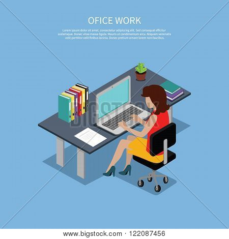 Isometric woman office work interior design. 3D woman in office room, business woman, working office woman, office girl,  business interior, professional working