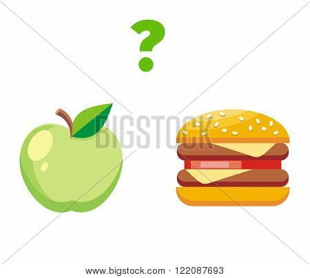 Apple or burger food design flat. Healthy diet or hamburger, fruit or unhealthy cheeseburger, fresh or fast,  choice and decision, lunch sandwich or apple vector illustration