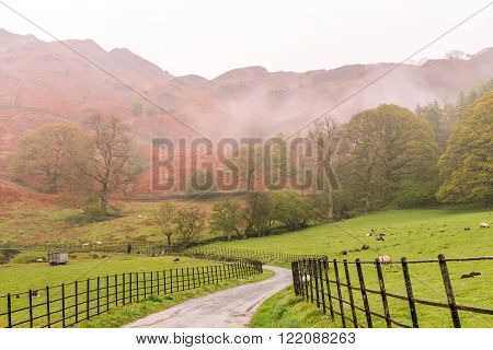 Lake District United Kingdom - May 09 2015: Foggy and rainy afternoon in Lake District. Early spring read on a foreground mountain covered in fog on background.