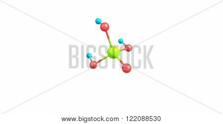 Phosphoric acid or orthophosphoric acid is a mineral acid having the chemical formula H3PO4. 3D illustration
