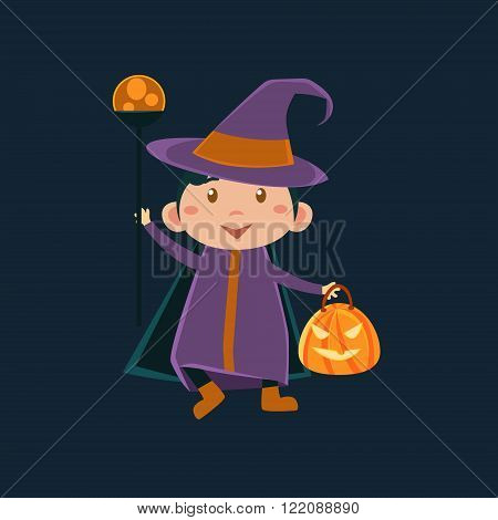 Little Girl In Witch Violet Haloween Disguise Funny Flat Vector Illustration On Dark Background