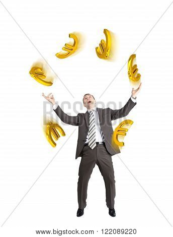 Businessman juggling euro signs isolated on white background