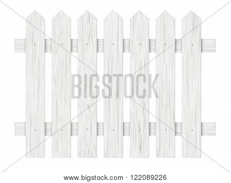 White wooden fence barrier in the garden on the farm or in the village. Element front garden landscaping.