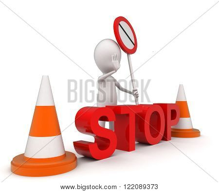 3D Man Presenting Stop Sign Using Hand Gesture - Stop Board And Traffic Cones Concept