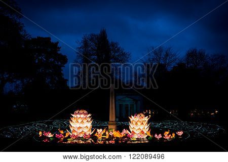 London United Kingdom - February 07 2016: Magical Lantern Festival at Chiswick House And Gardens. Lotus flowers and coy fish installation.
