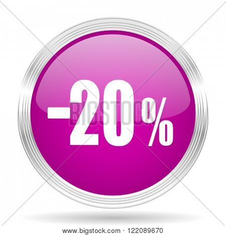 20 percent sale retail pink modern web design glossy circle icon