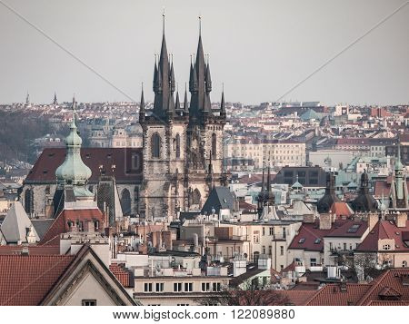Prague Old Town with Church of Our Lady before Tyn. Aerial view from Letna Park, Czech Republic